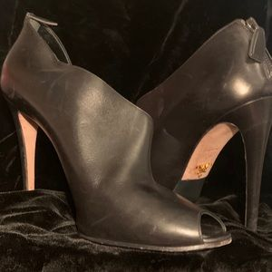 Size 39 Prada black leather 4 1/2 inch boot